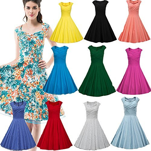 Dresstells Women 1950s Retro Rockabilly Dress Vintage