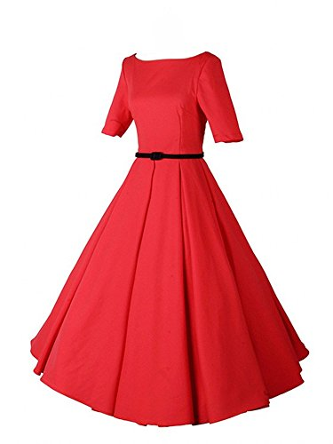 iLover Women 1950s V-Neck Vintage Rockabilly Swing Cocktail Evening Stretchy Casual Work Businees Dress with Pockets
