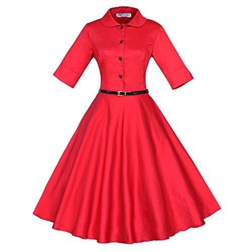 Maggie Tang 3/4 Sleeve 1950s Vintage Rockabilly Full Circle Dress