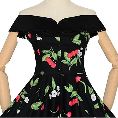 Maggie Tang 50s 60s Vintage Cherry Print Dancing Swing Rockabilly Pinup Dress