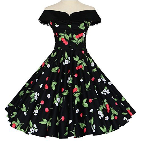 f3929f3e043 Maggie Tang 50s 60s Vintage Cherry Print Dancing Swing Rockabilly Pinup  Dress