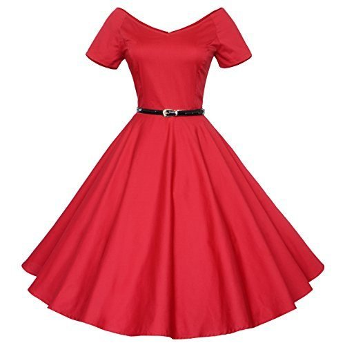 Maggie Tang 50s 60s Vintage V-Neck Swing Rockabilly Pinup Ball Gown Party Dress