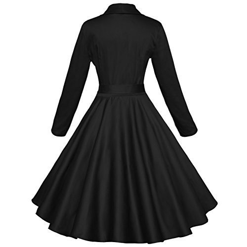 Maggie Tang 50s Long Sleeve Vintage Swing Rockabilly Cocktail Party Dance Dress