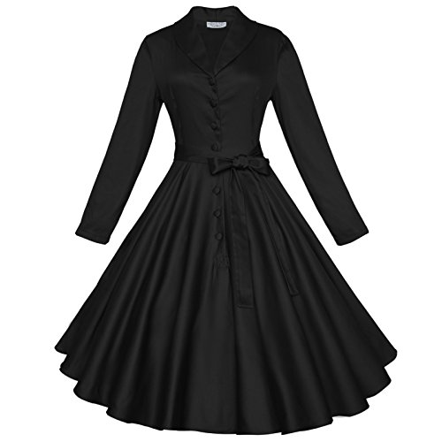 Maggie Tang 50s Long Sleeve Vintage Swing Rockabilly Cocktail Party Dance Dress Secret Of Diva