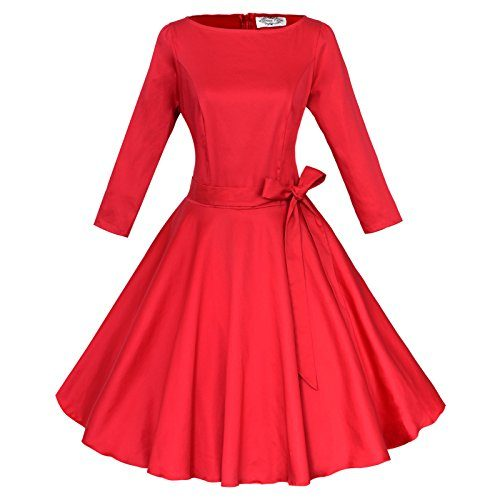 Maggie Tang Audrey Hepburn 3/4 Sleeve 1950s Vintage Rockabilly Full Circle Dress