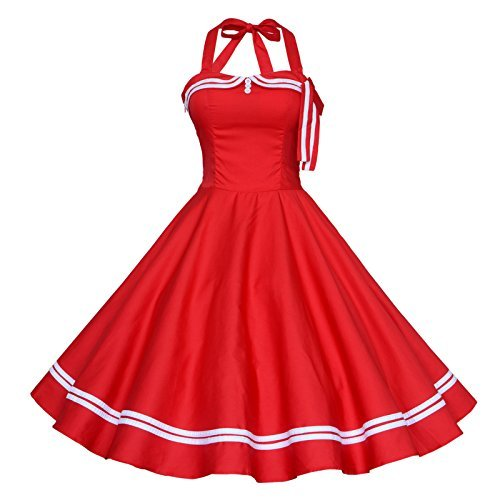 latest selection of 2019 clear and distinctive price remains stable Maggie Tang Women's 1950s Halter Vintage Rockabilly Dress