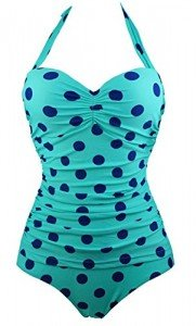 Cocoship-50s-Retro-Navy-Blue-Aqua-Polka-Dot-Vintage-One-Piece-Pin-Up-Monokinis-SwimsuitFBA-0