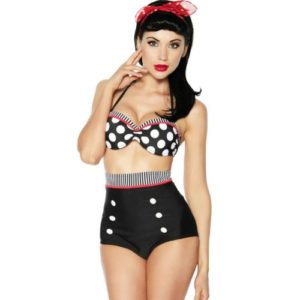 HDE-Women-Vintage-50s-Pinup-Girl-Rockabilly-High-Waist-Retro-Bikini-Swimsuit-Set-0