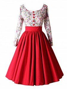 ILover-Women-Long-Sleeve-Vintage-Classical-Casual-Swing-Dress-0-4