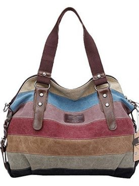 Koolertron Fashion Vintage Women S Shoulder Color Block Bag Canvas Tote Messenger Lady Handbag Purse