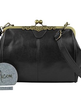 Micom New Small Retro Vintage Kiss Lock Imitation Leather Purse Handbag Totes Bag For Women S