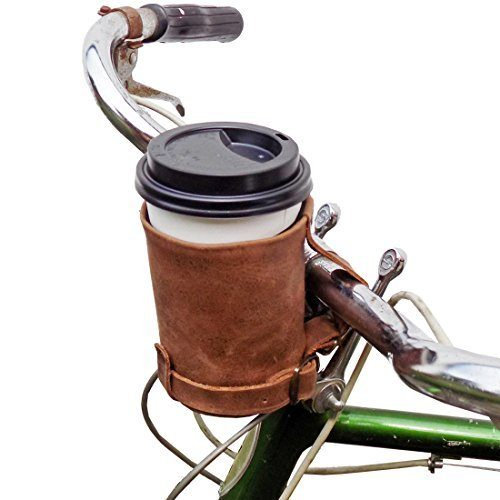 Hide & Drink, Cruzy Leather Bike Handlebar Cup Holder, Insulated Beverage Pouch for Commuters, Minimalist Bikers, Cyclers, City Nomads, Urban Nomad Handmade Includes 101 Year Warranty :: Bourbon Brown