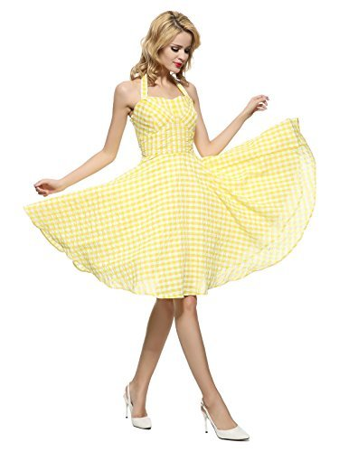 029e7fd5a559 Maggie Tang 50s Vintage Detachable Halterneck Swing Rockabilly Ball Gown  Dress