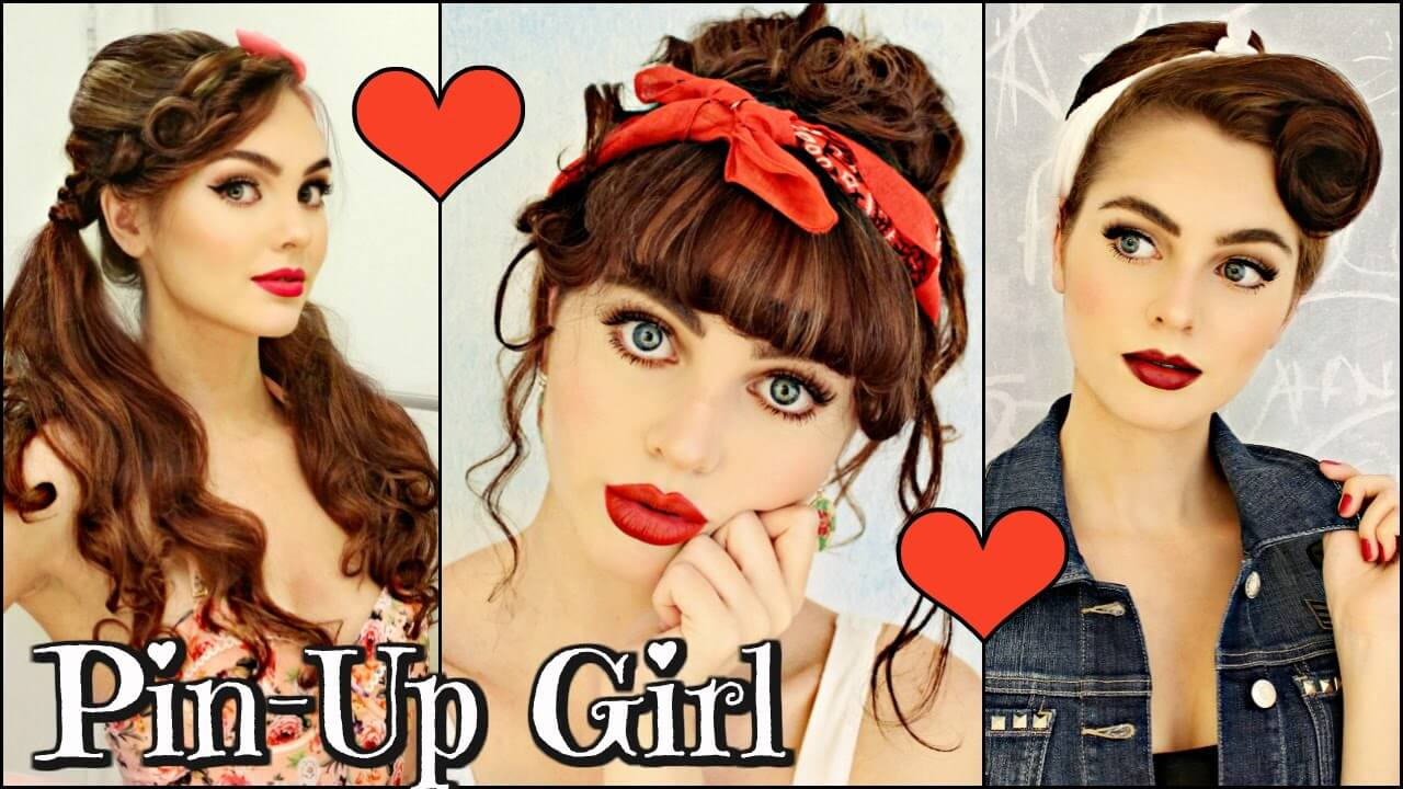 Hairstyles For Short Hair 1940s: Video: 3 Vintage/Retro PIN UP Girl Hairstyles! (1940 / 50