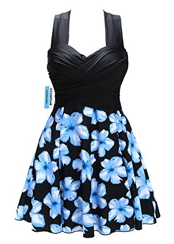 Cocopear Women S Elegant Crossover One Piece Swimdress