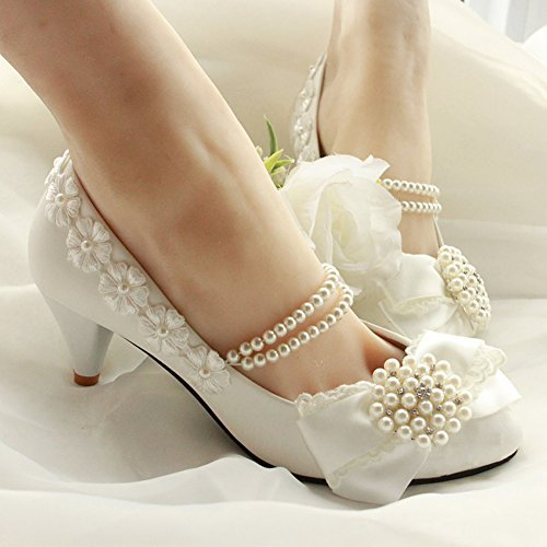 Getmorebeauty Womens Pearls Lace Weave Flower Kitten Heel Wedding Shoes