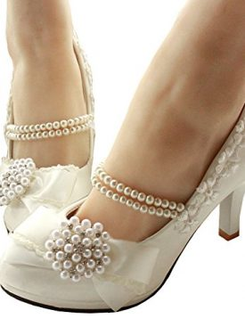 Getmorebeauty Women S With Pearls Across Ankle Top High Heel Wedding Shoes