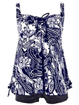 c9fcff9c480 Hilor Women's Plus Size Swimwear Floral Tankini Set Drawtring Modest Two  Piece Swimsuit