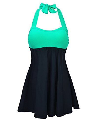 c6eb4563a786f JOYMODE Women s Halter Swimwear One Two Piece Swimsuit Skirtini Swimdress  ...