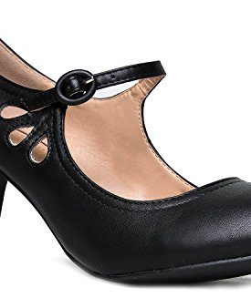 7b95a590dd OLIVIA K Women's Kitten Heels Mary Jane Pumps – Adorable Vintage Shoes-  Unique Round Toe Design with an Adjustable Strap