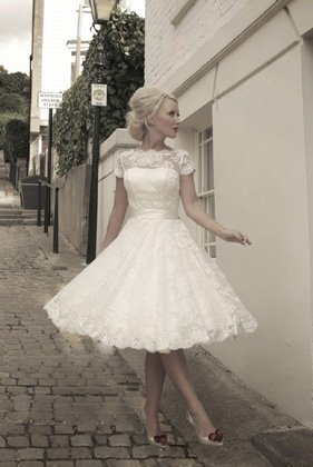 Short Vintage Wedding Dress on Streets